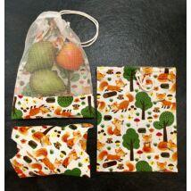 Szett (2db textil gyümölcsös zsák, 1db újra szalvéta