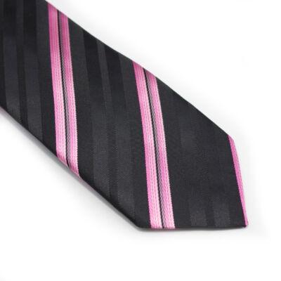 Rózsaszín csíkos nyakkendő+zsebkendő
